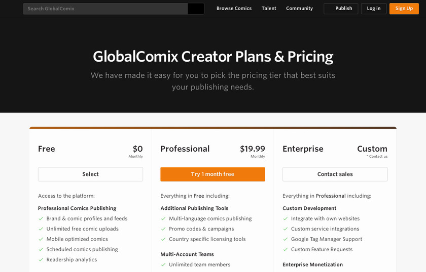 GlobalComix Pricing