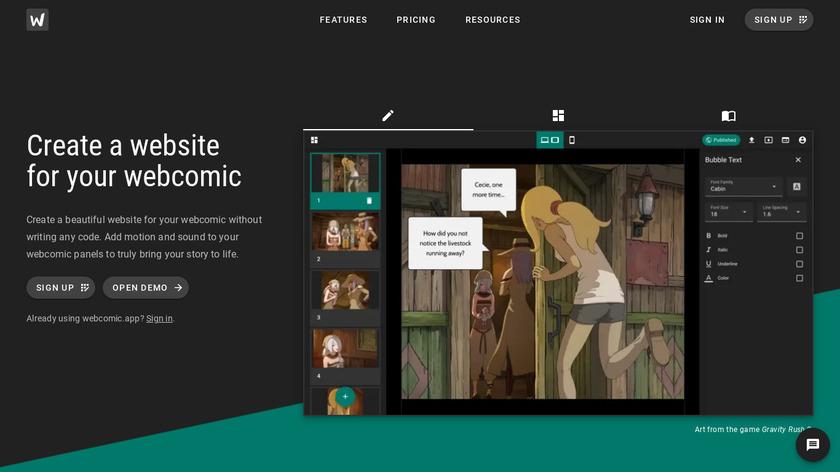 webcomic.app Landing Page