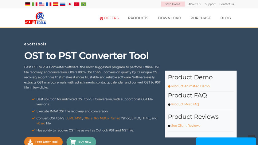 eSoftTools OST to PST Converter Landing Page