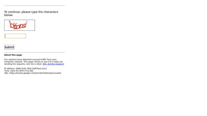 Google Trends Visualizer Landing Page
