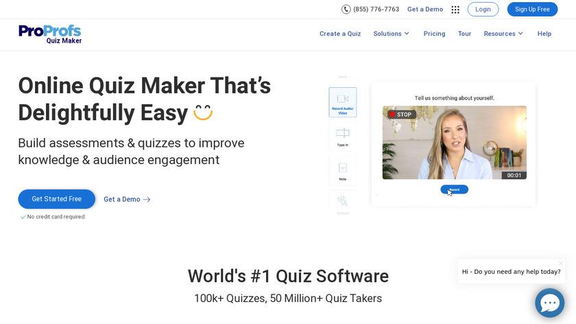 Proprofs Quiz Maker Landing Page