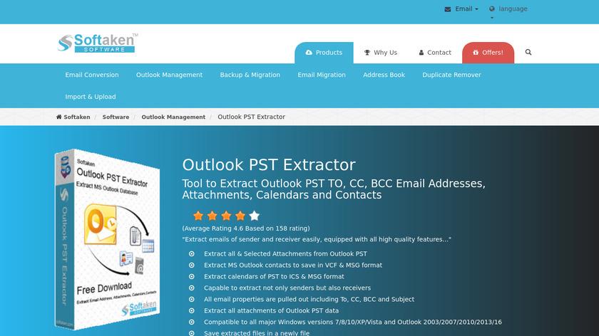 Softaken Outlook PST Extractor Landing Page