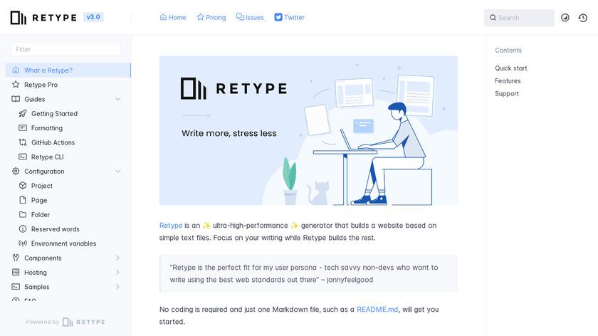 RetypeApp Landing Page