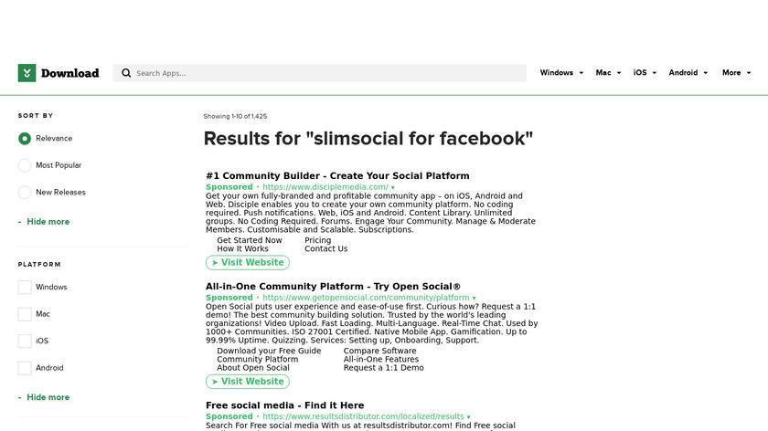 SlimSocial for Facebook Landing Page