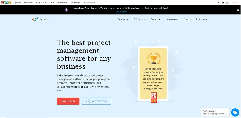 Zoho Projects Landing Page