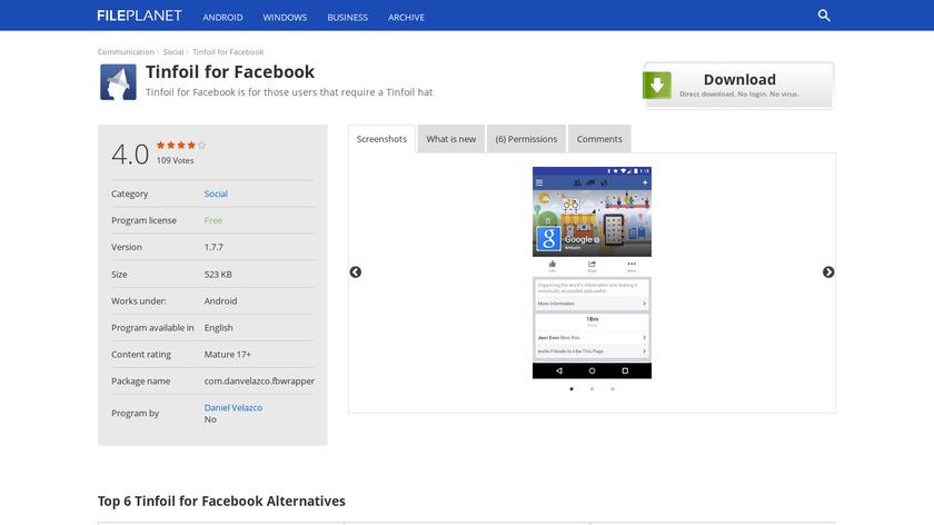 Tinfoil for Facebook Landing Page