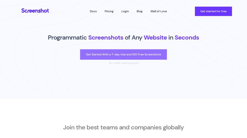 ScreenshotAPI.net Landing Page