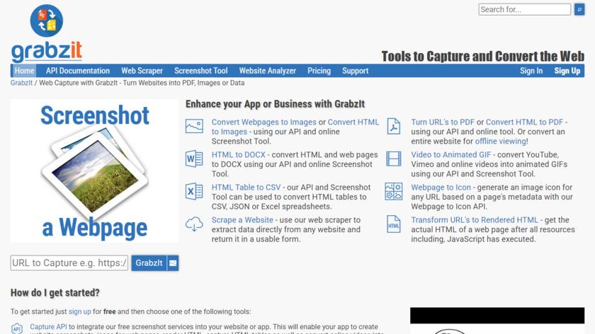 GrabzIt Landing Page