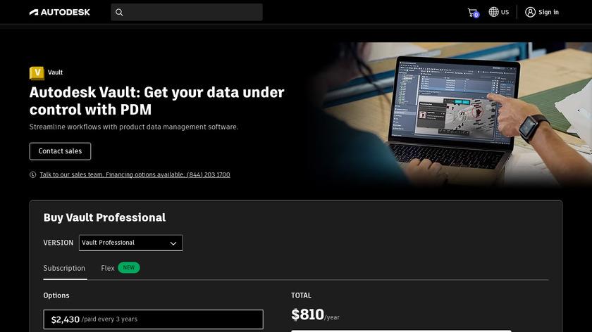 Autodesk Vault Landing Page