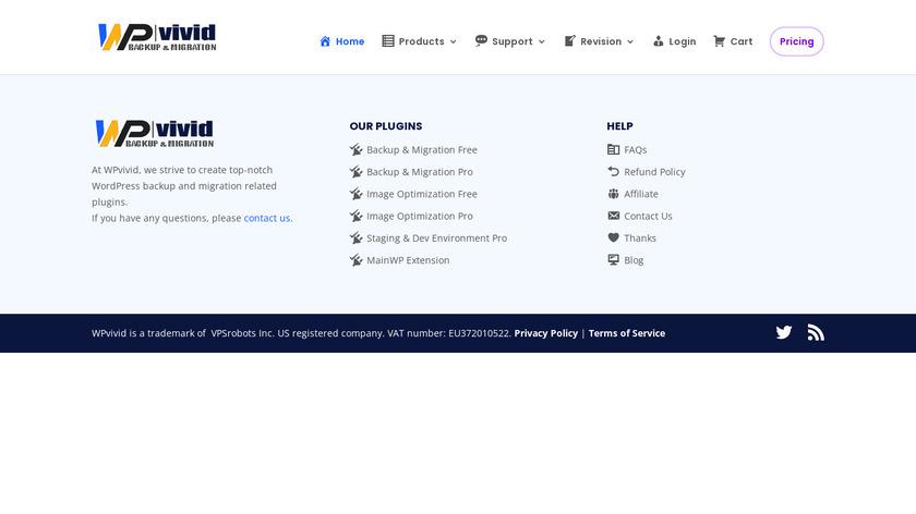 WPvivid Backup Landing Page
