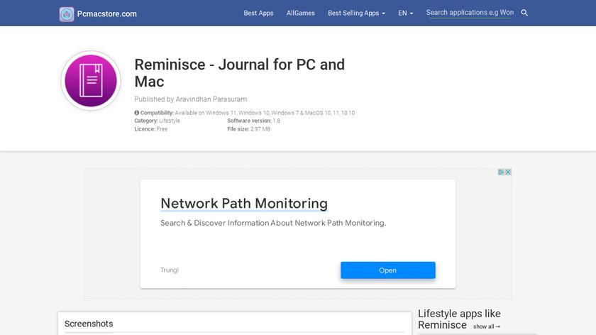 Reminisce Journal Landing Page