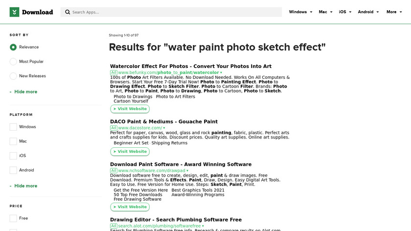 Water Paint Sketch Photo Effect Landing Page