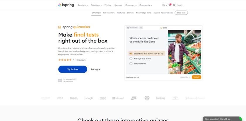 iSpring QuizMaker Landing Page