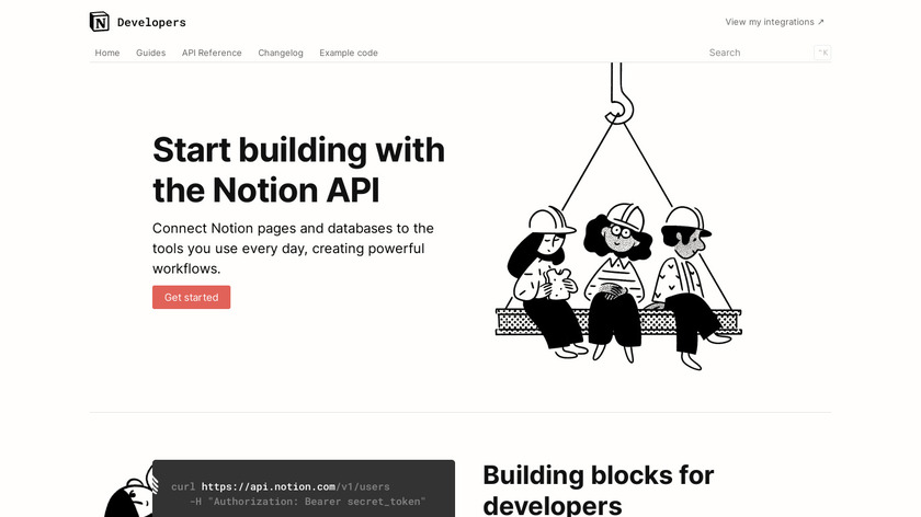 Notion API beta Landing Page