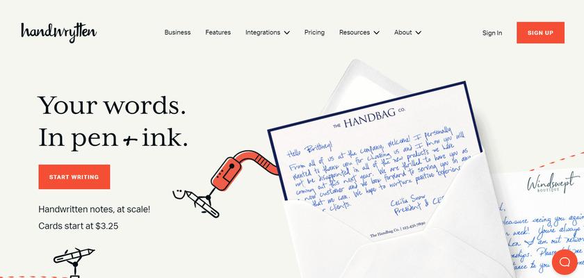 Handwrytten Landing Page