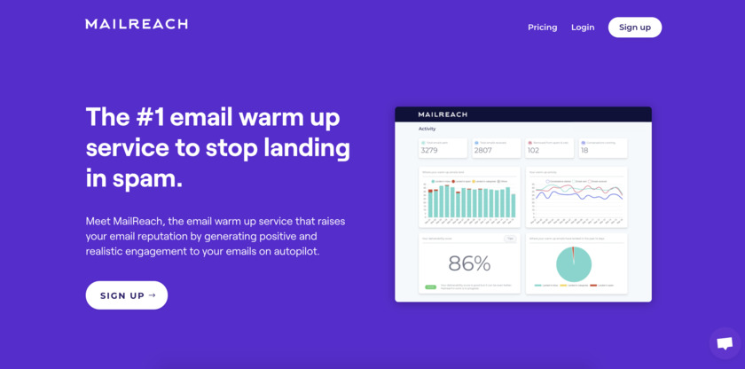 MailReach.co Landing Page