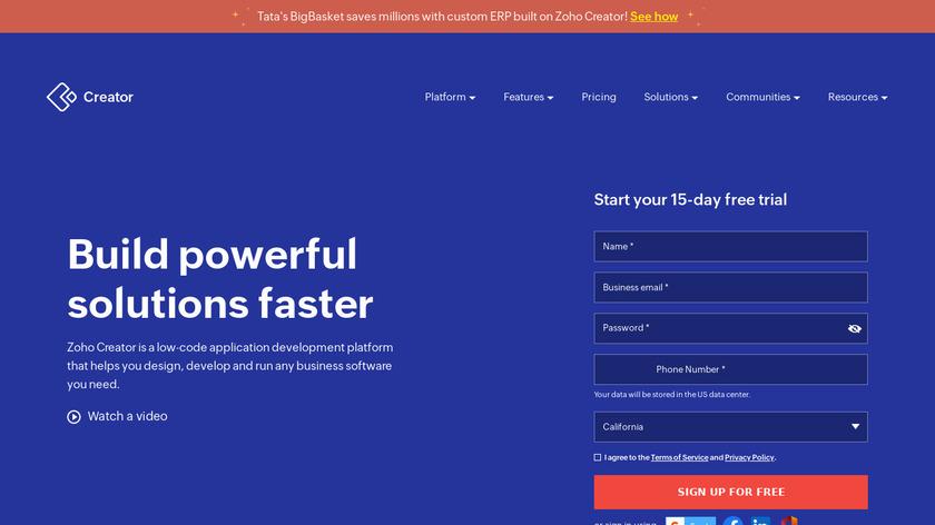 Zoho Creator Landing Page