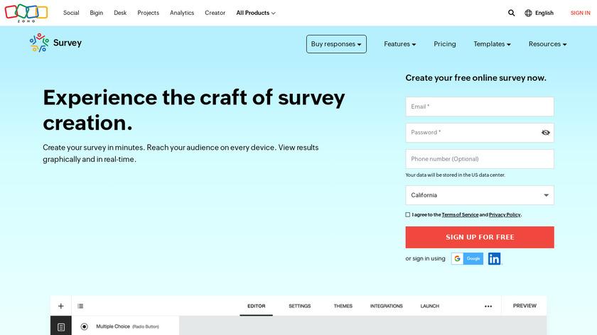 Zoho Survey Landing Page
