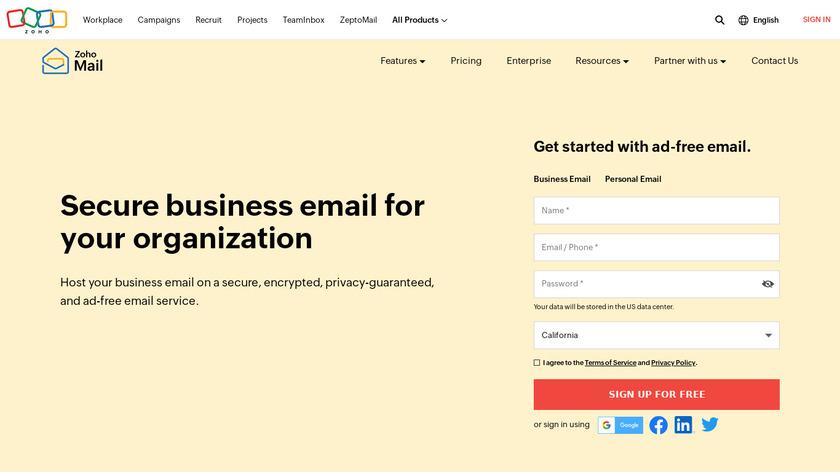 Zoho Mail Landing Page