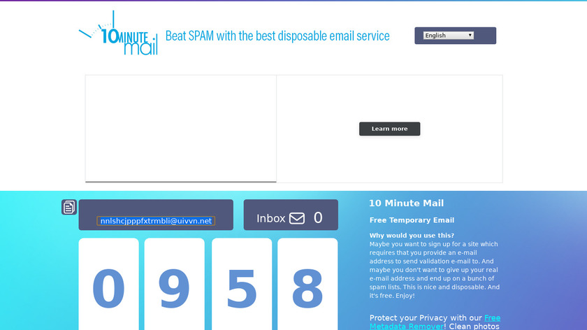 10 Minute Mail Landing Page