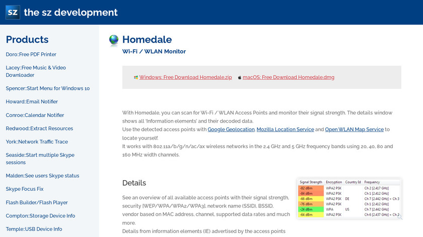 Homedale Landing Page