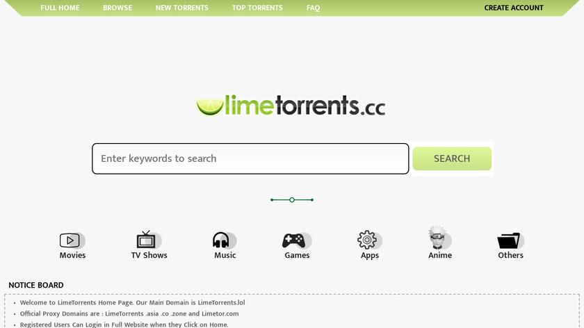 LimeTorrents Landing Page