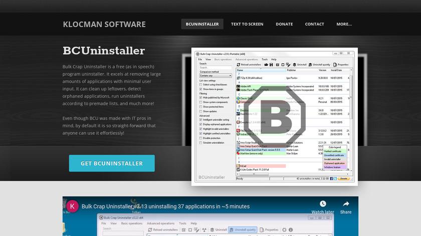 Bulk Crap Uninstaller Landing Page