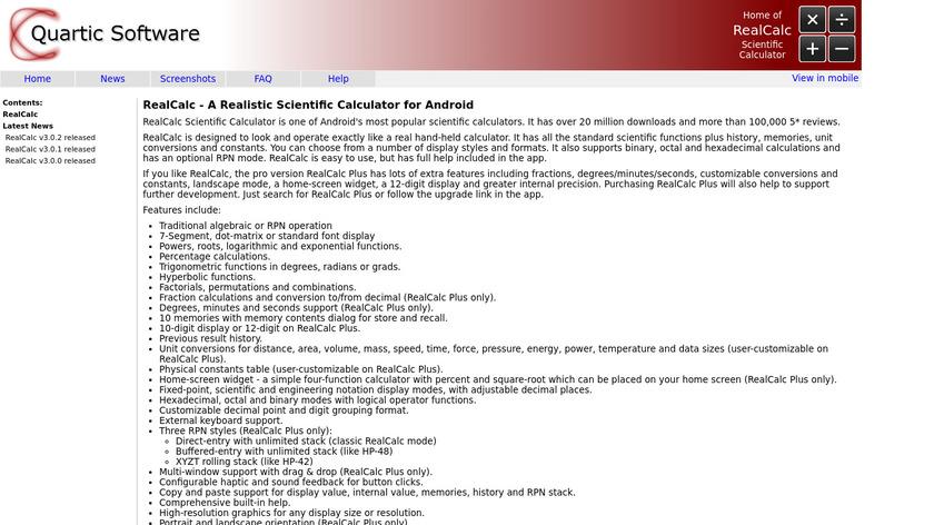 RealCalc Scientific Calculator Landing Page