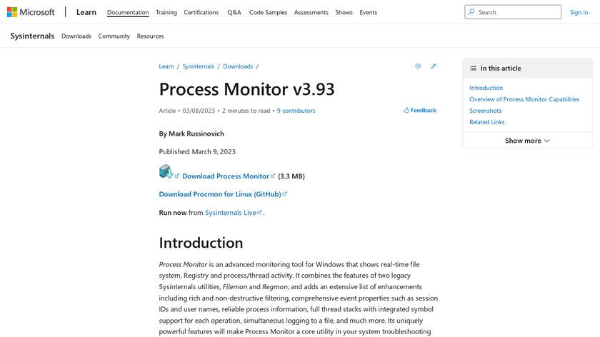 Process Monitor Landing Page
