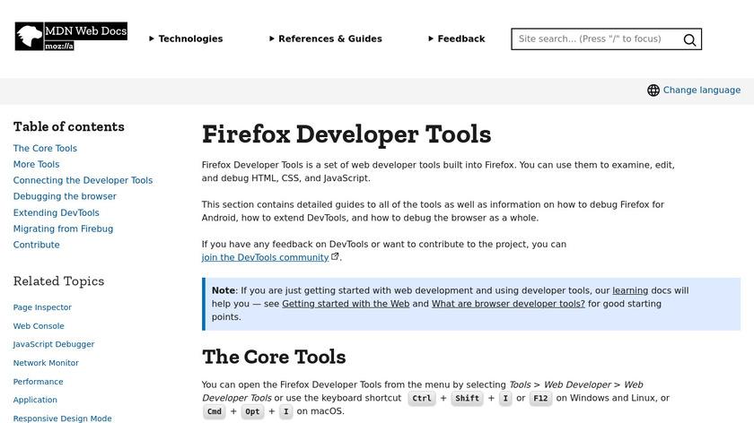 Firefox Developer Tools Landing Page