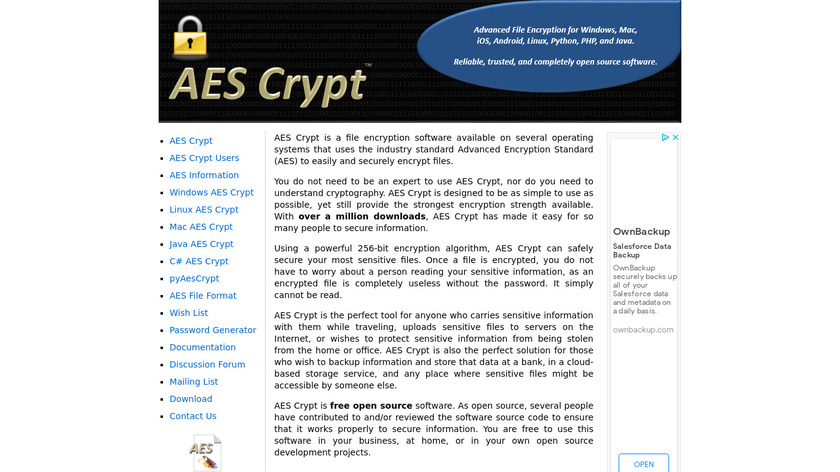 AES Crypt Landing Page