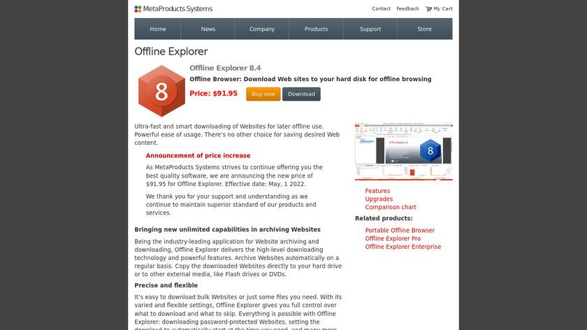 Offline Explorer Landing Page