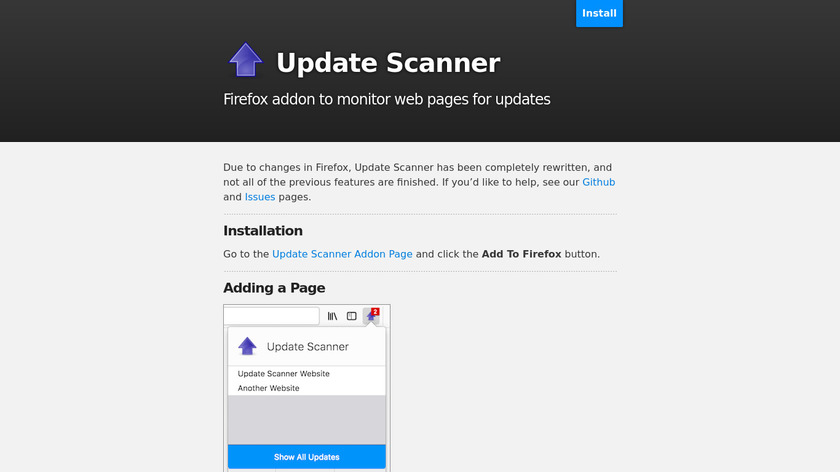 Update Scanner Landing Page