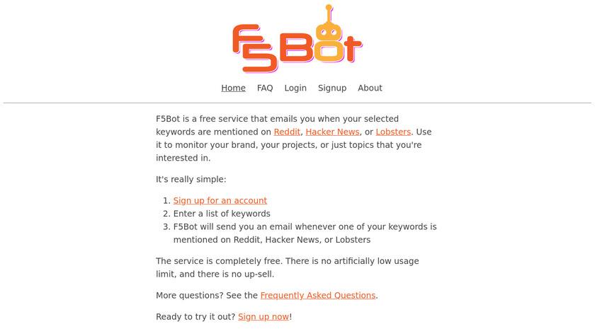 F5Bot Landing Page