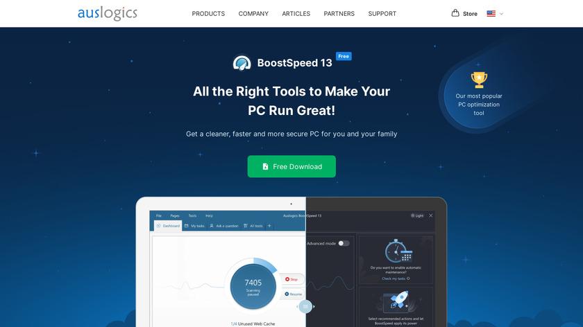 Auslogics BoostSpeed Landing Page