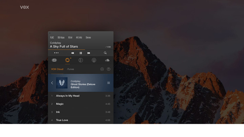 Vox Music Player Landing Page
