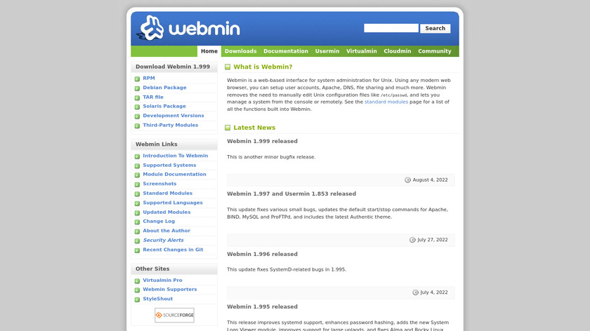 Webmin Landing Page