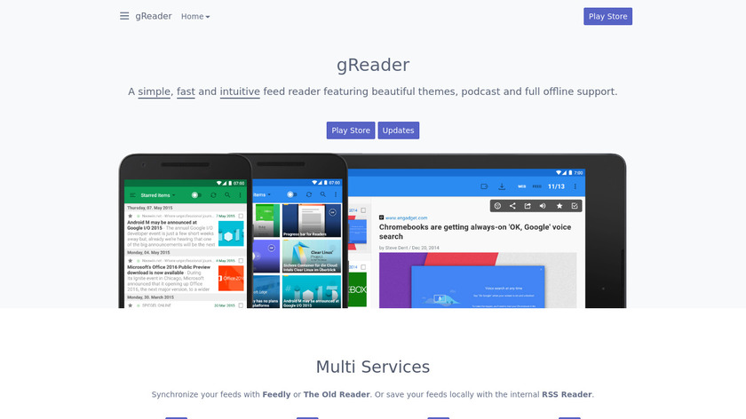 gReader Landing Page