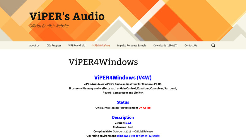 ViPER4Windows Landing Page