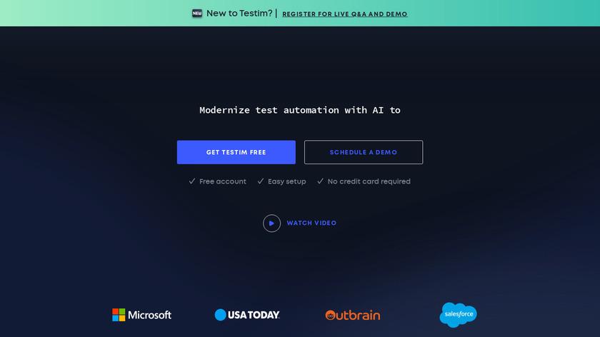 Testim Landing Page