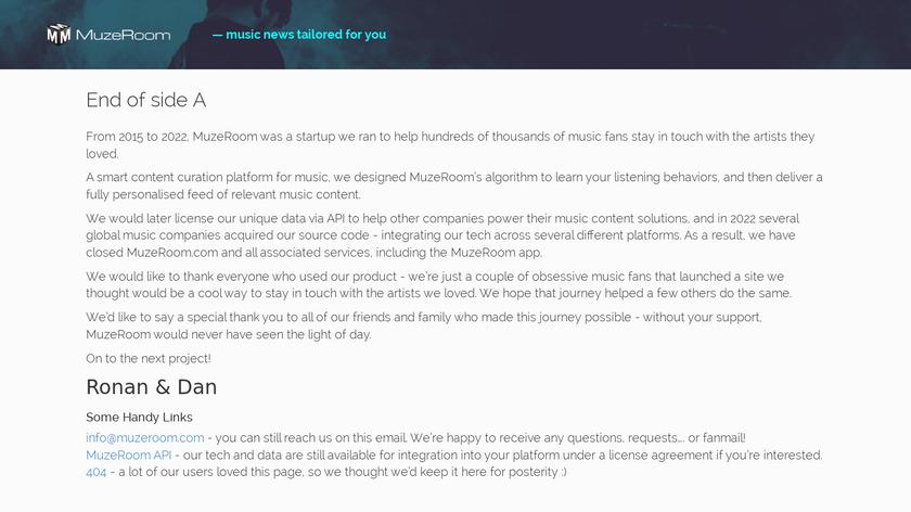 MuzeRoom Landing Page