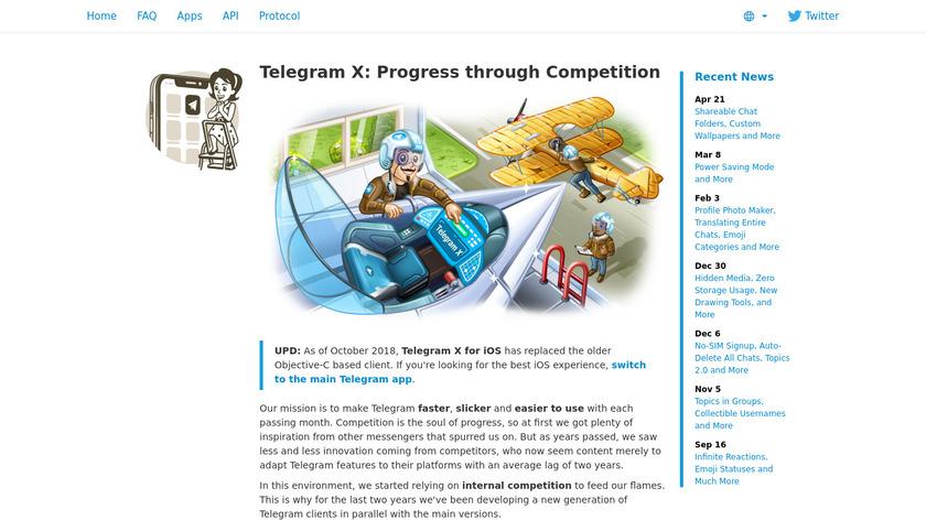 Telegram X Landing Page