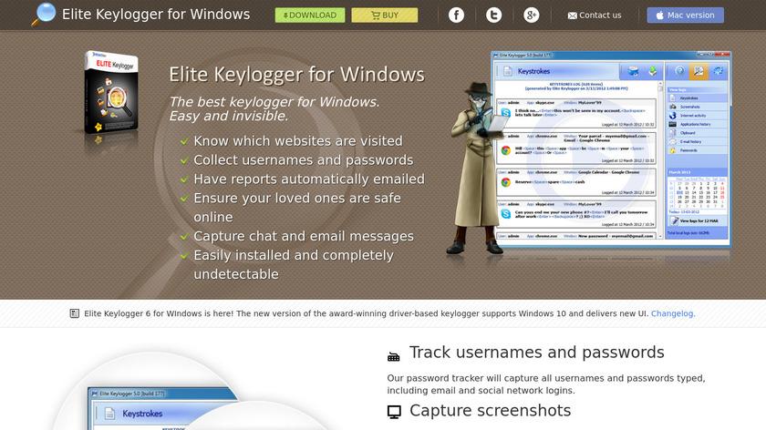 Elite Keylogger Landing Page