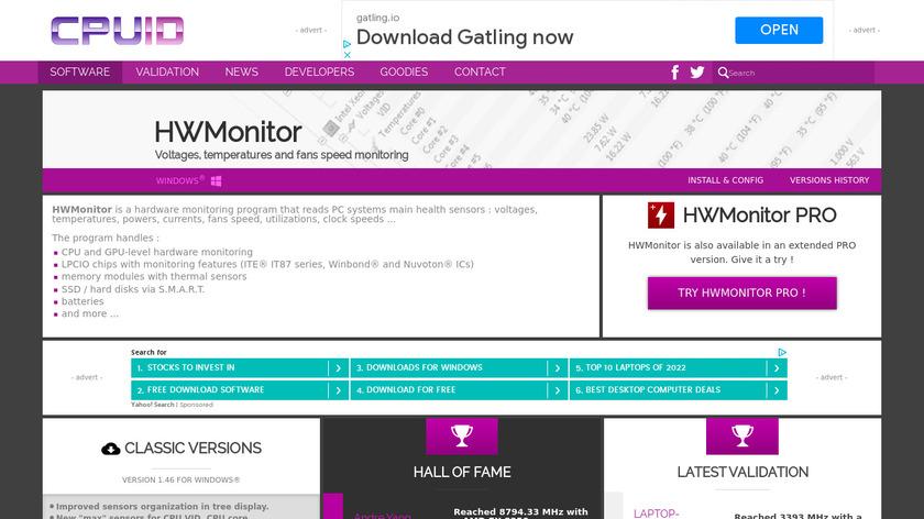 HWMonitor Landing Page