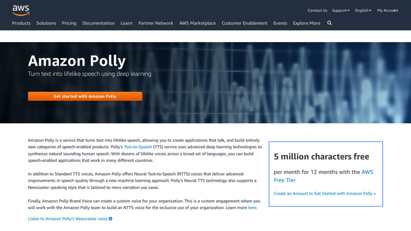 Amazon Polly Landing Page