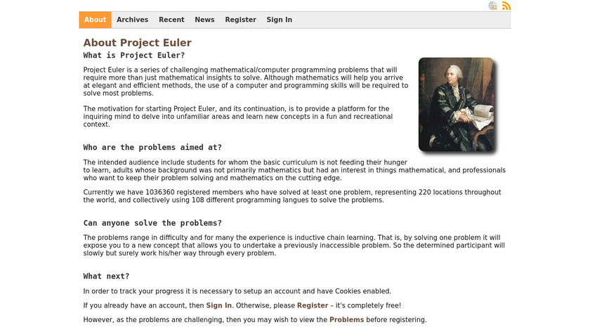 Project Euler Landing Page