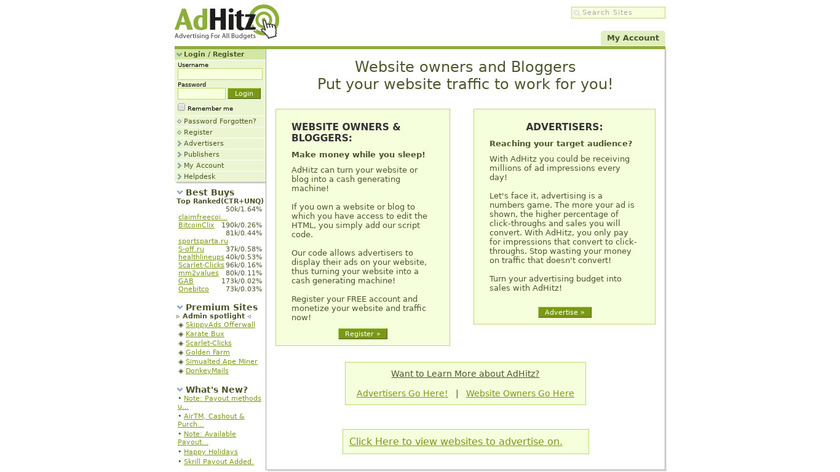 AdHitz Landing Page