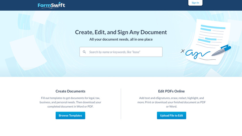 FormSwift Landing Page