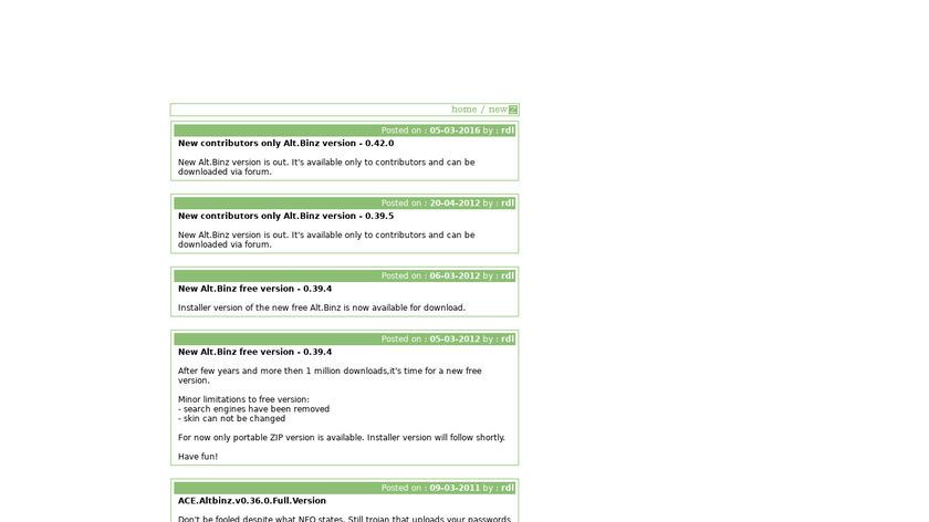 alt.binz Landing Page