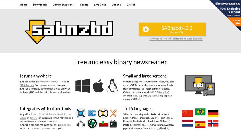 SABnzbd Landing Page